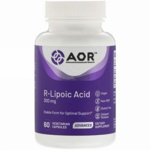 Advanced Orthomolecular Research AOR, R-リポ酸、300mg、植物性カプセル60粒