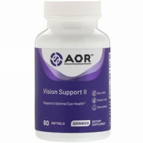 Advanced Orthomolecular Research AOR, ビジョンサポートII、ソフトジェル60粒