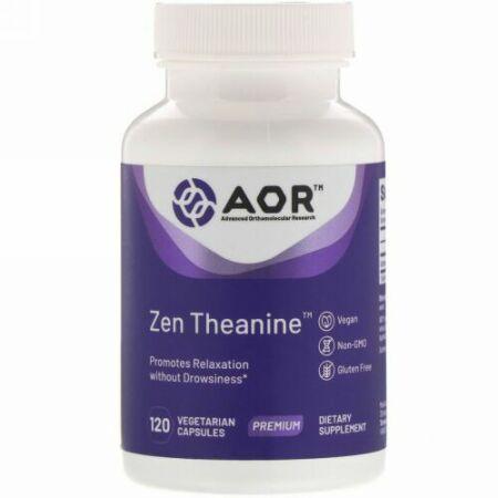 Advanced Orthomolecular Research AOR, Zen Theanine(ゼンチアニン)、植物性カプセル120粒 (Discontinued Item)