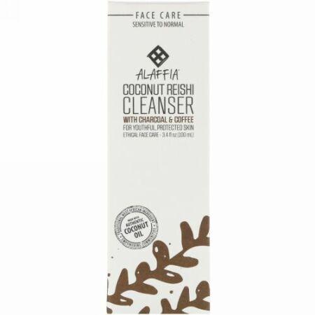 Alaffia, Coconut Reishi, Cleanser with Charcoal & Coffee, 3.4 fl oz (100 ml) (Discontinued Item)