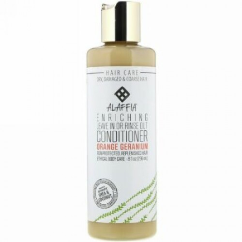 Alaffia, Enriching Leave In or Rinse Out Conditioner, Orange Geranium, 8.0 fl oz (236 ml) (Discontinued Item)