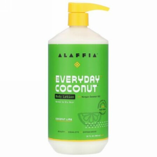 Alaffia, Everyday Coconut, Body Lotion, Normal to Dry Skin, Coconut Lime, 32 fl oz (950 ml)