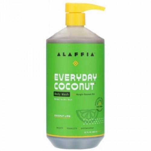 Alaffia, Everyday Coconut, Body Wash, Normal to Dry Skin, Coconut Lime, 32 fl oz (950 ml)