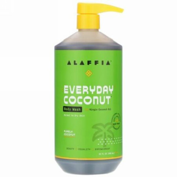 Alaffia, Everyday Coconut, Body Wash, Normal to Dry Skin, Purely Coconut, 32 fl oz (950 ml)