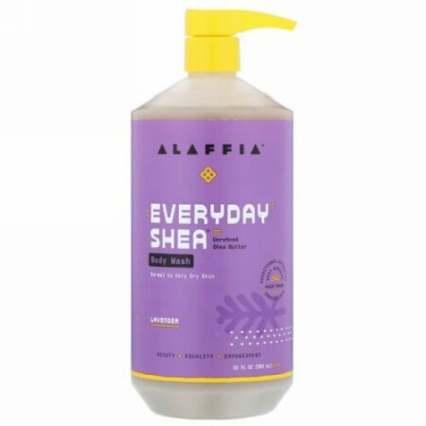 Alaffia, EverydayShea(エブリデイシア)、ボディウォッシュ、普通肌~乾燥肌の方に、ラベンダー、950ml、(32液量オンス)