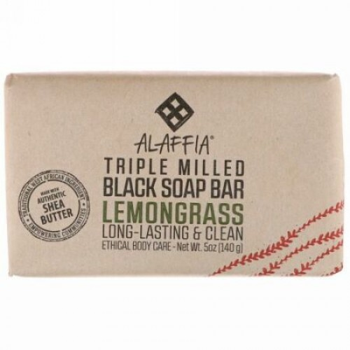 Alaffia, Triple Milled Soap Bar, Lemongrass, 5 oz (140 g) (Discontinued Item)