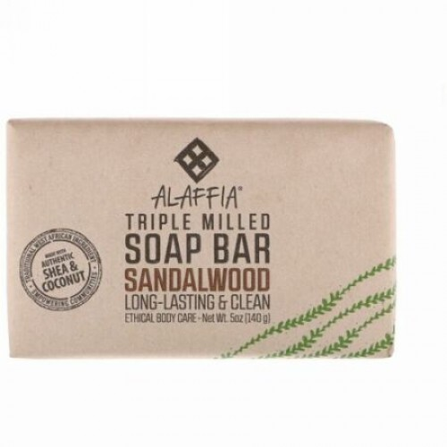 Alaffia, Triple Milled Soap Bar, Sandalwood, 5 oz (140 g) (Discontinued Item)