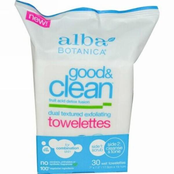 Alba Botanica, グッド・アンドクリーン、デュアルテクスチャー角質除去ウェットティッシュ、油脂不使用、ウェットティッシュ30枚 (Discontinued Item)