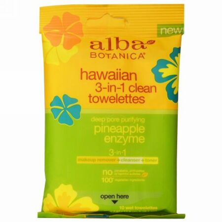 Alba Botanica, ハワイアン3-in-1クリーンウェットティッシュ、パイナップル酵素、ティッシュ10枚 (Discontinued Item)