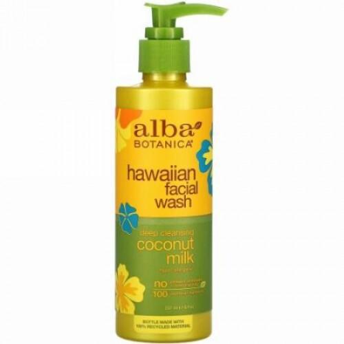 Alba Botanica, ハワイアンフェイシャルウォッシュ、ディープクレンジングココナッツミルク、237ml(8液量オンス)