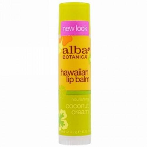 Alba Botanica, ハワイアンリップバーム、栄養満点ココナッツクリーム、15 oz (4.2 g)