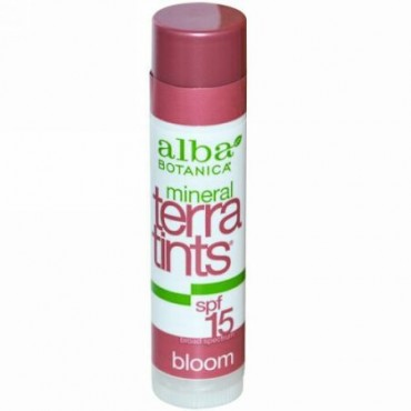 Alba Botanica, ミネラル・テラティンツ・リップバーム ブルーム SPF 15, .15 oz (4.2 g) (Discontinued Item)