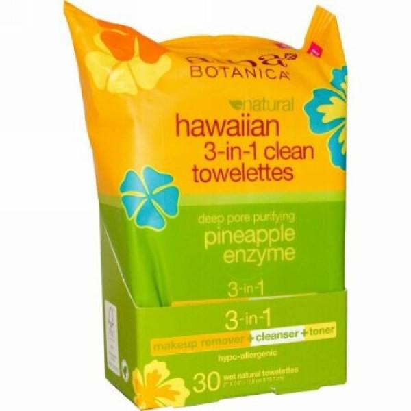 Alba Botanica, ハワイアン3-in-1クリーンウェットティッシュ、ナチュラルウェットティッシュ30枚
