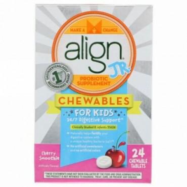 Align Probiotics, 24/7消化サポート、Jr. プロバイオテックサプリメント、子供用チュアブル錠、チェリースムージー、24チュアブル錠 (Discontinued Item)