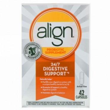 Align Probiotics, 24/7消化サポート、プロバイオテックサプリメント、42カプセル (Discontinued Item)