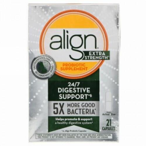Align Probiotics, 24/7消化サポート、プロバイオテックサプリメント、超強力、21カプセル (Discontinued Item)