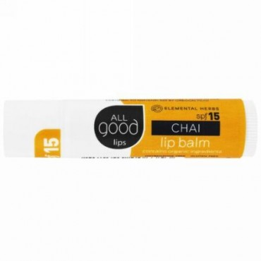 All Good Products, All Good Lips, Lip Balm, SPF 15, Chai, 4.25 g (Discontinued Item)