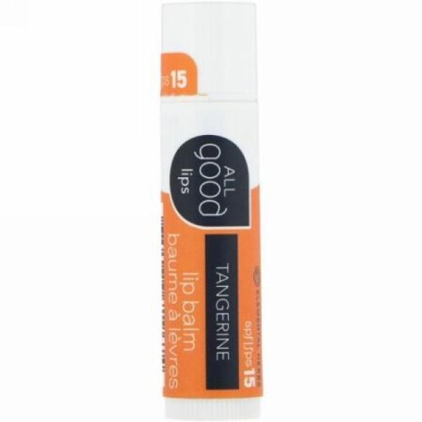 All Good Products, オールグッドリップス、リップバーム、SPF 15、タンジェリン、4.25 g (Discontinued Item)