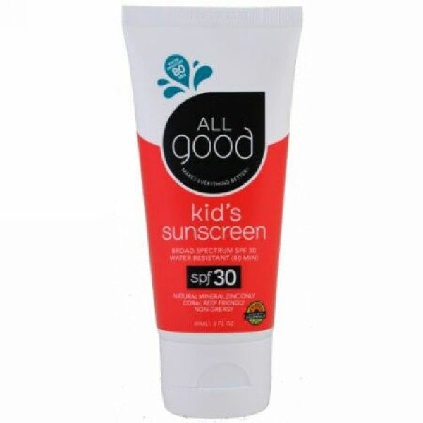 All Good Products, キッズ・サンスクリーン、SPF 30、3液量オンス (89 ml) (Discontinued Item)