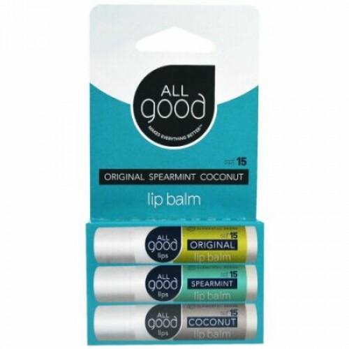 All Good Products, リップバーム、SPF 15、オリジナル、スペアミント、ココナッツ、3パック、4.25 g (Discontinued Item)
