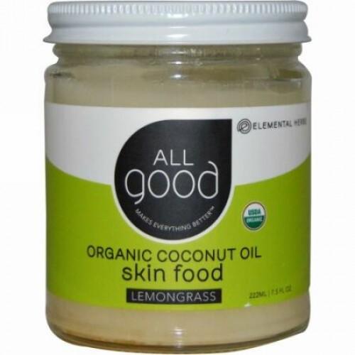 All Good Products, Organic Coconut Oil, Skin Food, Lemongrass, 7.5 fl oz (222 ml) (Discontinued Item)