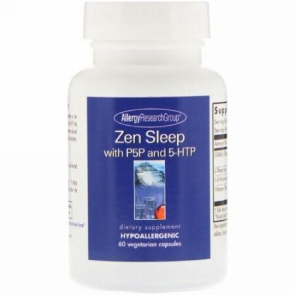 Allergy Research Group, Zen Sleep、P5Pと5-HTPを配合、植物性カプセル60錠