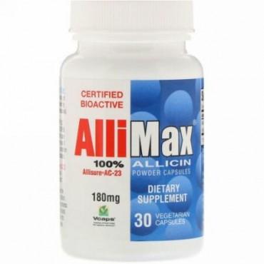 Allimax, 100%アリシンパウダーカプセル、180 mg、30ベジキャップ