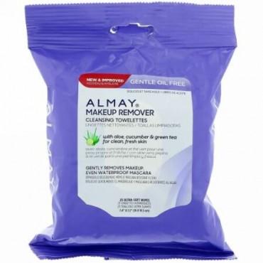 Almay, 穏やかなオイルフリー・メイクリムーバー・クレンジングタオレット、超やわらかなソフトワイプ25枚 (Discontinued Item)