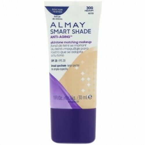 Almay, スマートシェード、 Anti-Aging(エイジングケア) スキントーンマッチングメイク、SPF20、300ミディアム、1 fl oz (30 ml) (Discontinued Item)