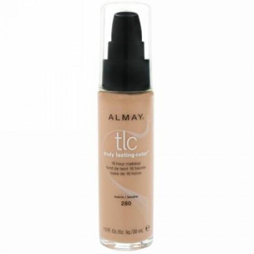 Almay, トゥルーラスティング・カラーメイクアップ、280 Warm(あたたかい肌色)、1.0 fl oz (30 ml) (Discontinued Item)