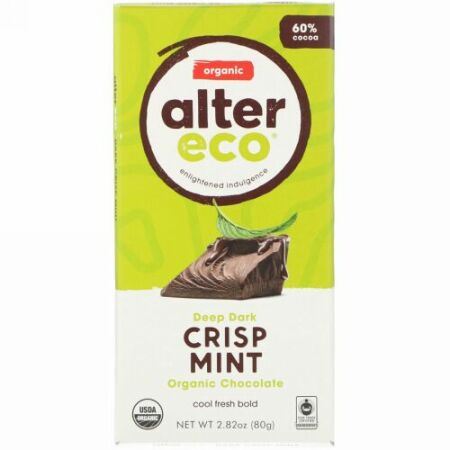 Alter Eco, オーガニックチョコレートバー、ディープダーククリスプミント、2.82オンス (80 g) (Discontinued Item)