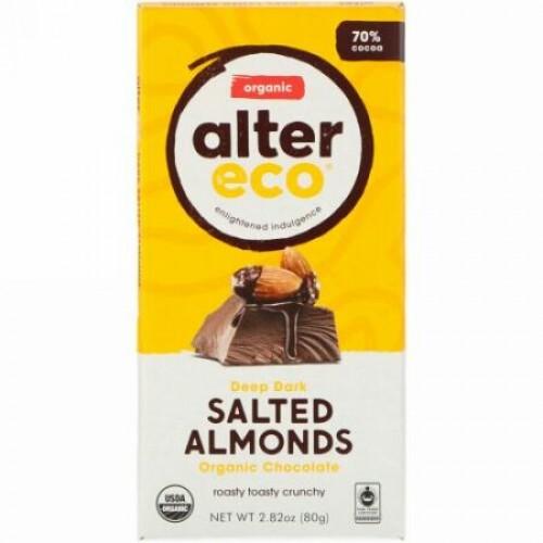 Alter Eco, オーガニックチョコレートバー、ディープダーク塩アーモンド、カカオ70%、80g(2.82オンス)