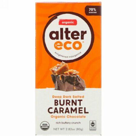 Alter Eco, オーガニックチョコレートバー、ディープダーク焦がし塩キャラメル、カカオ30%、80g(2.82オンス)