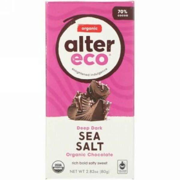 Alter Eco, オーガニックチョコレートバー、ディープダークシーソルト、カカオ70%、80g(2.82オンス)