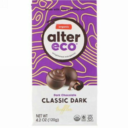 Alter Eco, オーガニック・クラシックダークトリュフ、ダークチョコレート、4.2オンス(120g)