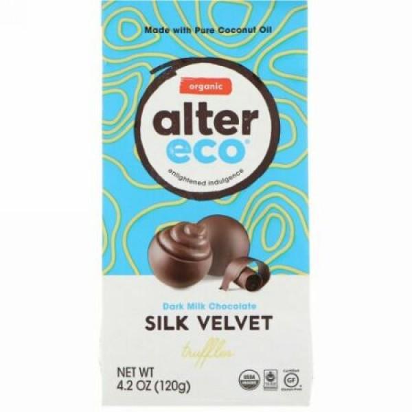 Alter Eco, オーガニックダークミルクチョコレート、シルクベルベットトラッフル、4.2オンス (120 g)