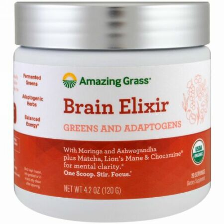 Amazing Grass, Brain Elixir, Greens and Adaptogens, 4.2 oz (120 g) (Discontinued Item)