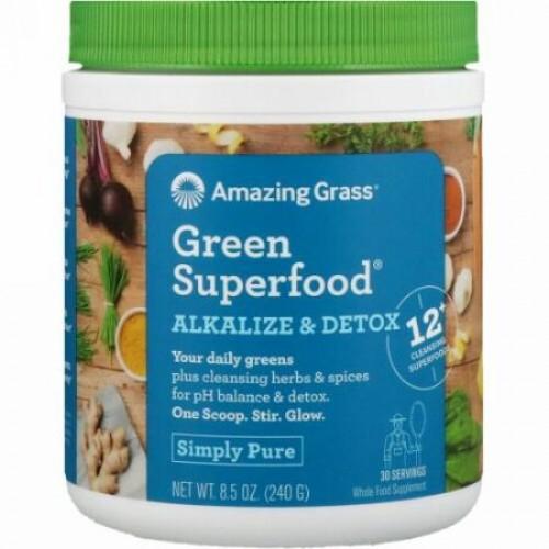 Amazing Grass, Green Superfood(グリーンスーパーフード)、pHバランス&デトックス、240 g(8.5 oz)