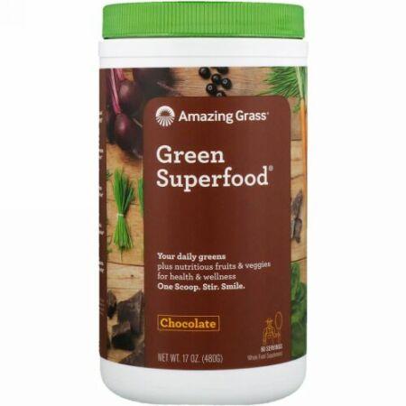 Amazing Grass, グリーン スーパーフード, チョコレート ドリンク パウダー, カカオ抽出物, 17 oz (480 g)