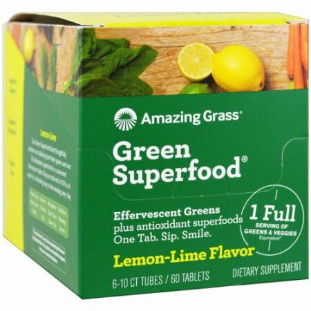 Amazing Grass, グリーンスーパーフード、エファーヴェセントグリーンズ、レモンライム味、6本、各10錠 (Discontinued Item)