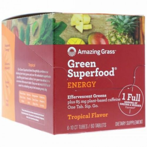 Amazing Grass, Green Superfood, Effervescent Greens Energy, Tropical Flavor, 6 tubes, 10 Tablets Each (Discontinued Item)