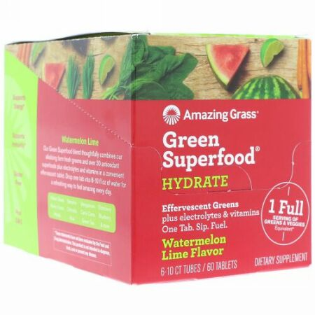 Amazing Grass, Green Superfood, Effervescent Greens Hydrate, Watermelon Lime Flavor, 6 Tubes, 10 Tablets Each (Discontinued Item)