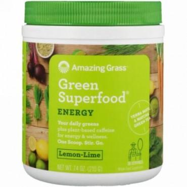 Amazing Grass, グリーンスーパーフード、エネルギー、レモンライム、7.4 oz (210 g)