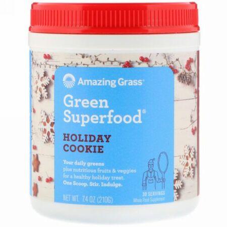 Amazing Grass, グリーンスーパーフード、ホリデークッキー、7.4 oz (210 g) (Discontinued Item)