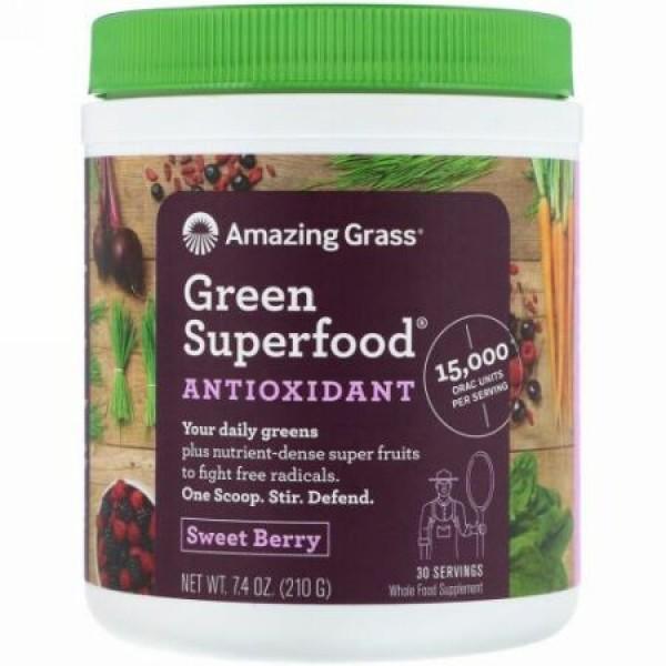 Amazing Grass, グリーンスーパーフード、スウィートベリー、7.4 oz (210 g)