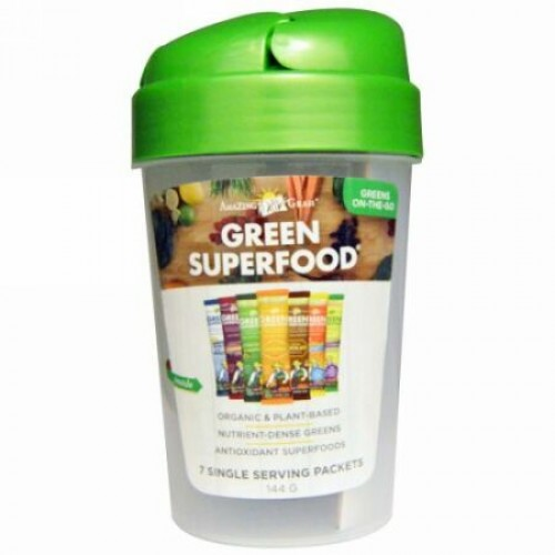 Amazing Grass, Green Superfood Shaker Cup and 7 Flavors of Green Superfood、1 - 20 oz Cup、7袋、各7 g (Discontinued Item)