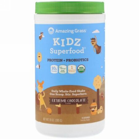 Amazing Grass, キッズ・スーパーフード、タンパク質+プロバイオティクス、エクストリーム・チョコレート、10オンス(285g) (Discontinued Item)