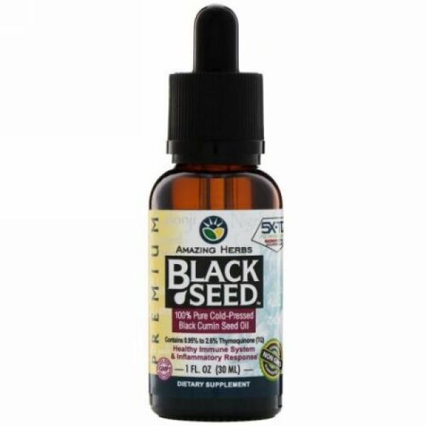 Amazing Herbs, ブラックシード、100%純粋な低温圧縮ブラッククミンシードオイル、 1 fl oz (30 ml) (Discontinued Item)