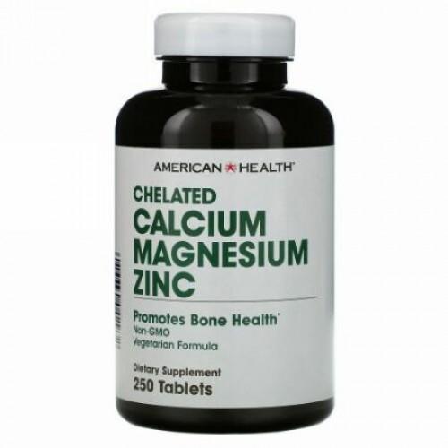 American Health, キレート カルシウム マグネシウム 亜鉛、250 錠