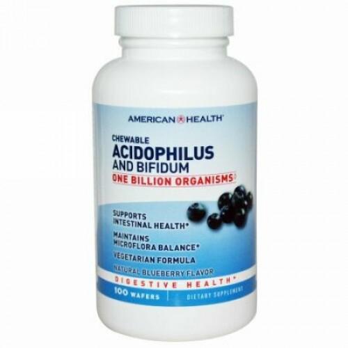 American Health, チュアブルアシドフィルスとビフィデュム, ナチュラルブルーベリー味, 100 ウエハー (Discontinued Item)